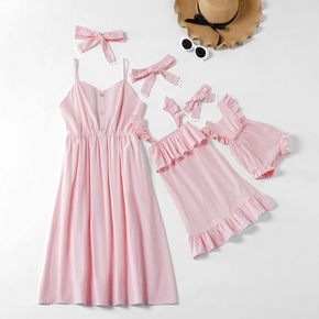 Solid Light Pink 100% Cotton Sling Dresses with Headbands for Mommy and Me