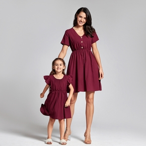 Mosaic Mommy and Me Flutter-sleeve Dresses Sister Rompers for Mom - Girl - Baby