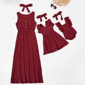 Mosaic Solid Wine Red 100% Cotton Matching Tank Dresses with Headband