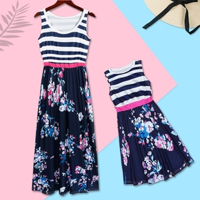 Mommy and Me Striped Stitching Printed Tank Dresses