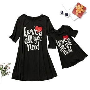 Mommy and Me Letter Printed Midi-sleeve Dresses