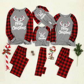 Merry Christmas Antler Letter Print Plaid Design Family Matching Pajamas Sets (Flame Resistant)