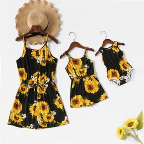 Mommy and Me Sunflowers Black Matching Jumpsuits