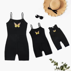 Solid Black Butterfly Print Sleeveless Cotton Rompers(Sling Rompers for Mom and Girl ; Tank Baby Rompers)