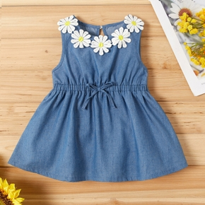 Baby / Toddler Sunflower Decor Denim Sleeveless Dress
