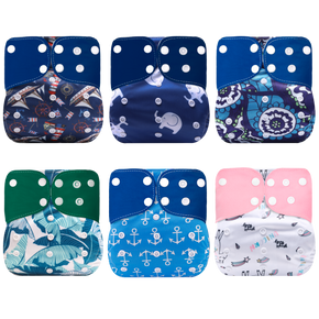 Cute Baby Washable Adjustable Cloth Diaper Waterproof Breathable Eco-friendly Diaper Reusable Cloth Pocket One Size Nappy Diaper Cover