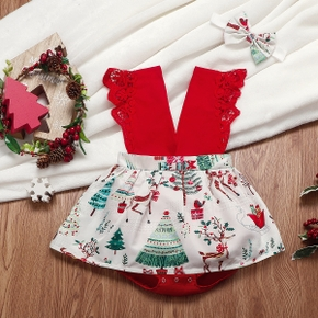 2-piece Baby Sweet Christmas Tree Rompers with Headband
