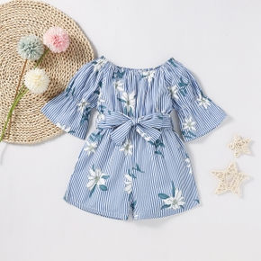 Baby / Toddler Floral Print Striped Off Shoulder Onesies