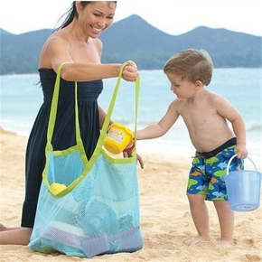 Large Capacity Net Design Beach Toy Storage Bag Outdoor Mom Baby Beach Mesh Toys Bag Summer Digging Sand Tool Sundries Storage Hand Bags