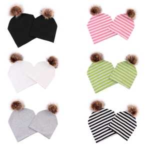 Solid or Stripe Print 100% Cotton Knitted Hats for Mommy and Me