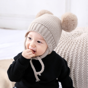 Baby / Toddler Solid Pompon Decor Tie-up Hat
