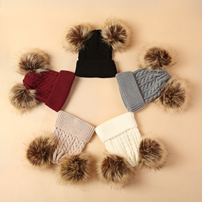 Baby / Toddler 2 Big Pompon Decor Knitted Hat