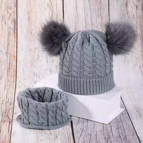 Baby / Toddler Pompon Decor Knitted Hat with Scarf