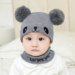 Baby / Toddler Pompon Animal Embroidered Knitted Hat with Scarf