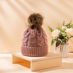 Baby / Toddler Solid Knitted Pompon Hat