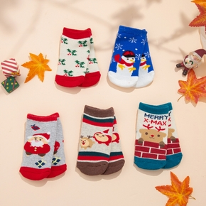 5-pack Baby / Toddler / Kid Christmas Middle Socks ( Various colors )