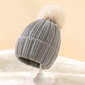 Baby / Toddler Solid Pompon Decor Knitted Hat