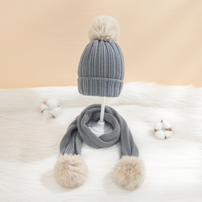 2-piece Baby / Toddler Solid Pompon Knitted Hat with Scarf Set