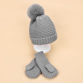 2-piece Baby / Toddler Striped Pompon Knitted Warm Hat and Glove Set