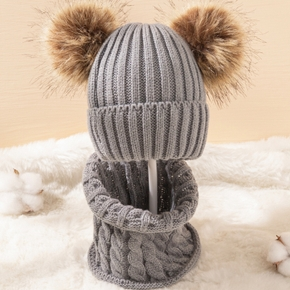 2-piece Baby Pompon Solid Striped Hat and Scarf Set