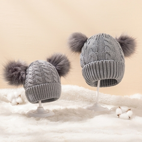 Mommy and Me Multicolor Warm Double Hairball Knit Hats