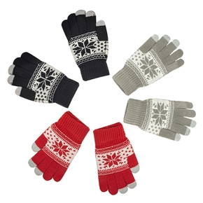 Maple Leaf Knitted Winter Gloves