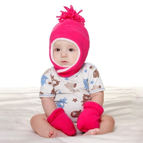 2-piece Baby Solid Fleece-lining Hat and Glove Set