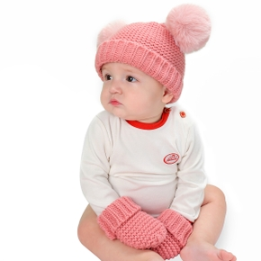 2-piece Baby Pompon Solid Hat and Glove Set