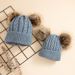 Mommy and Me Double Hairball Warm Small Twist Knit Hats