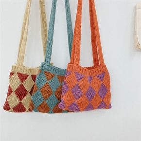Pretty Colorblock Knitted Shoulder Bag for Girls