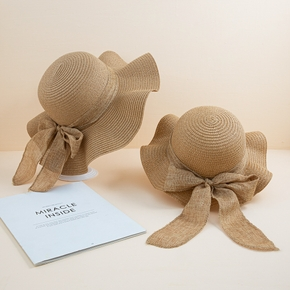 Mommy and Me Bowknot Solid Straw Hats