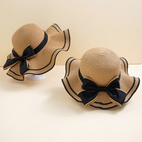 Straw Wave Edge Bowknot Beach Hats for Mommy and Me