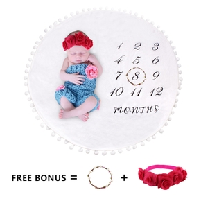 3Pcs Newborn Infant Baby Photo Background Monthly Growth Cloth Cute Baby Trendy Blanket Infant Photo Prop Rug for Souvenir