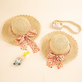 Floral Print Bowknot Decor Beach Straw Hats for Mommy and Me