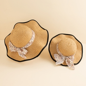 Floral Bowknot Decor Beach Straw Hats for Mommy and Me
