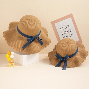 Blue Bowknot Decor Beach Straw Hats for Mommy and Me