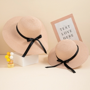 Black Bowknot Decor Beach Straw Hats for Mommy and Me