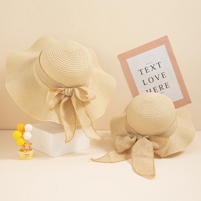 Bowknot Decor Beige Beach Straw Hats for Mommy and Me