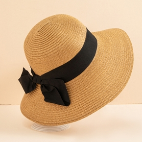 Summer New Ladies Big Bow Mesh Straw Hat Foldable Breathable Fisherman's Hat