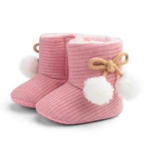 Baby / Toddler Girl Knitted Bowknot Fluff Ball Prewalker Shoes