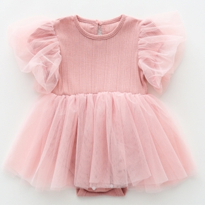 Baby Girl elegant Costumes & Formal Dresses & Tuxedos Short-sleeve Sweet Cotton Princess dress Baby Girl Clothes
