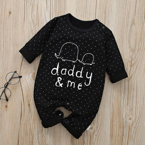 100% Cotton Letter and Polka Dots or Stripe Print Long-sleeve Baby Jumpsuit