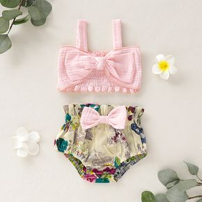 Baby Girl Stylish Bowknot Decor Strappy Top and Floral PP Shorts Set