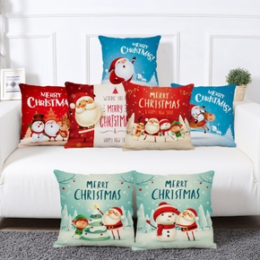 Christmas Cotton&Linen Blend Printed Pillowcase