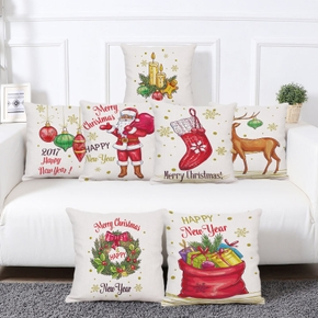 Christmas&Happy New Year Freehand Sketch Patterns Blend Printed Pillowcase