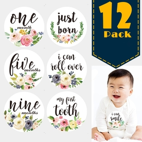 12-pack Resuable Waterproof Floral Print Baby Monthly Milestone Stickers