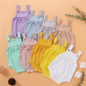 Baby Pretty Candy Color Solid Pocket Strappy Romper