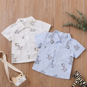 1pc Summer Cotton Short-sleeve Baby Boy casual Animal & Giraffe Shirt & Smock