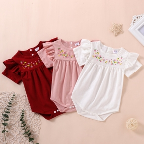 1pc Baby Girl Short-sleeve Cotton Sweet Floral Rompers & Bodysuits