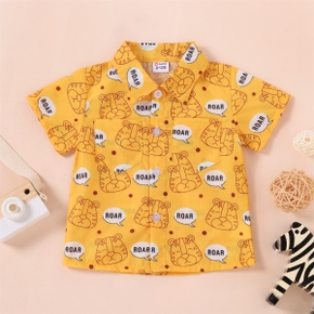 1pc Baby Boy Short-sleeve Cotton  casual Animal & Lion Shirt & Smock